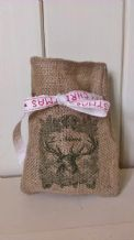 Personalized Reindeer Small Father Christmas Xmas Santa Sack / Stocking Bag Jute Hessian